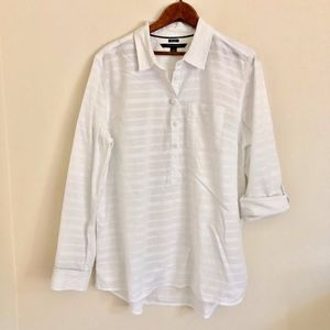 Tommy Hilfiger White Striped Popover Blouse